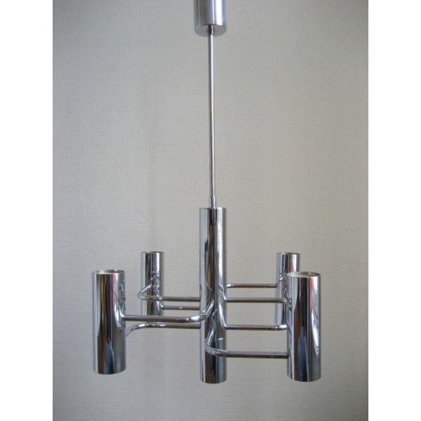 Hanging lamp Gaetano Sciolari for Boulanger, chrome