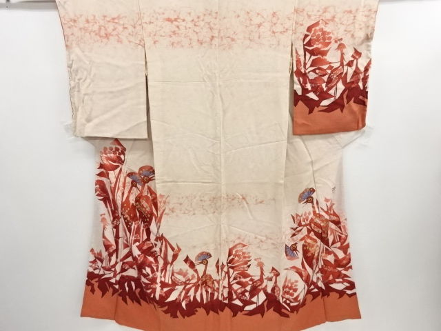 Antique silk kimono with exquisite decoration of abstract flower bird patterns - Japan - Mid 20th century