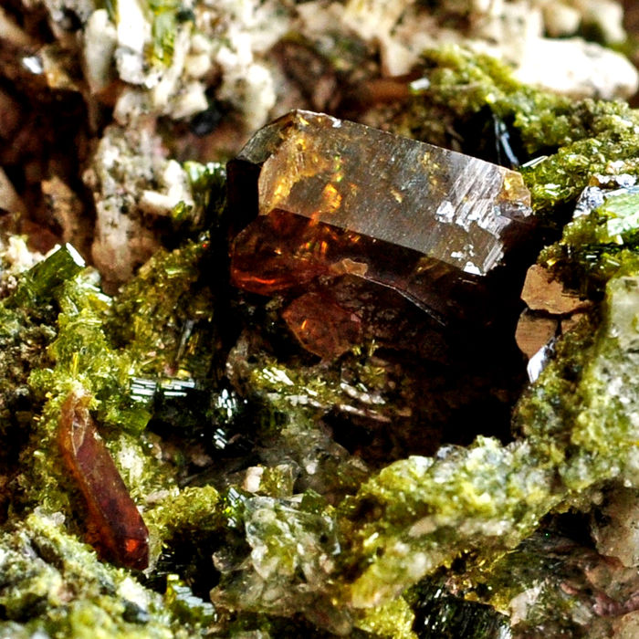 Honey Titanite, Clinozoisite and Diopside Crystals on matrix - 10.1 X 6.2 X 5.9 Cm - 336 Gm