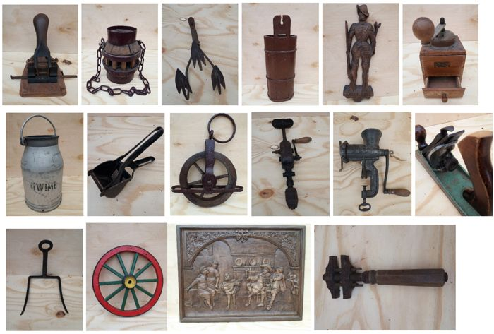 Collection of old work items, very old, 15 pieces in total