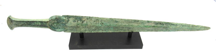 Ancient Greek Brons Sword Decorated with Handle on Stand - 47.8cm