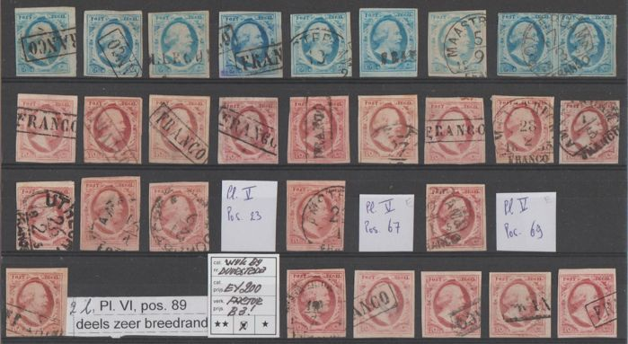 Netherlands 1852 - King William III First emission - NVPH 1 (9x) + 2 (20x)