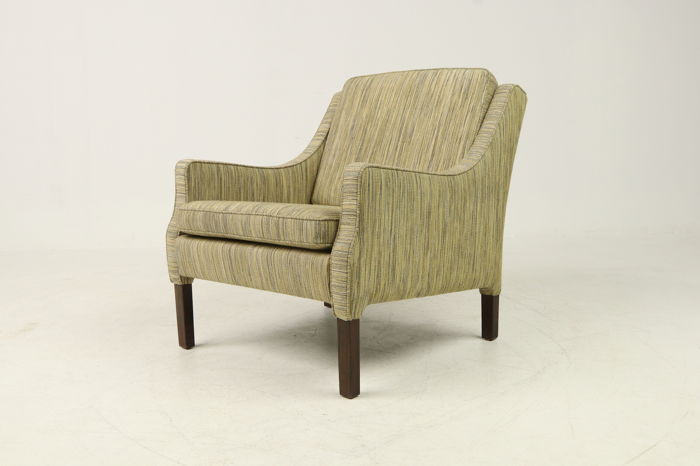 Danish Furniture Producer   Armchair In Striped Fabric