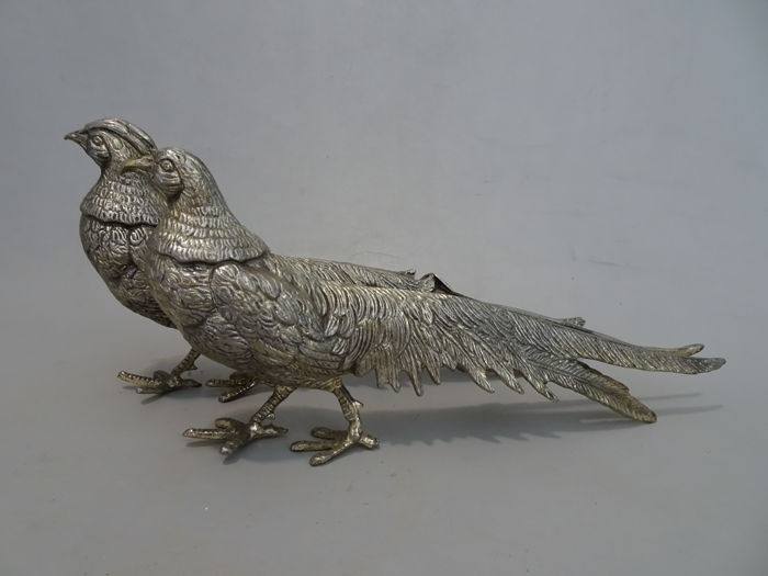2 silver plated pheasants, 2nd half 20th century