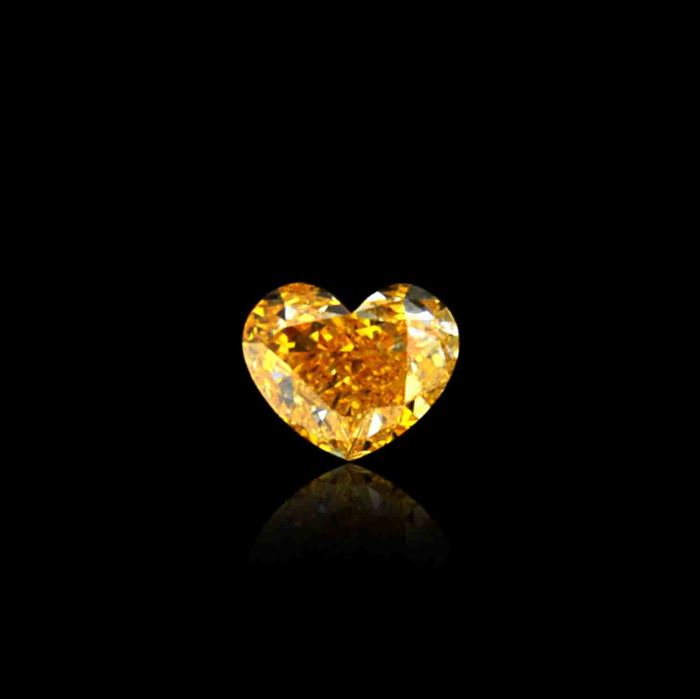 "0.27 Ct. Natural Fancy Intense Orange Heart shape Diamond. ""De Beers"" Certified"