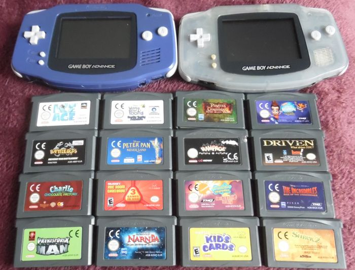 2 x Game Boy advance +covers with 16 games  like  Rampace + Kids cards+ Peter pan + Narnia + Shrek 2 + Charlie + Ice Age and more