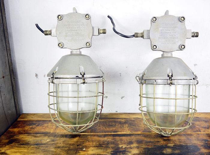 Unknown designer - large industrial lamp (2x)