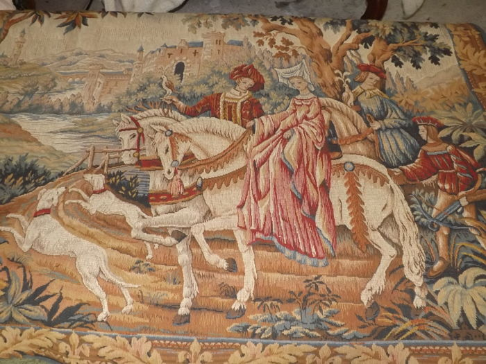 Tapestry representing the royal hunt by Marc Waymel -  tapestry in castle style by Médaillier Franklin - reproduction of a 15th century tapestry - 20th century - France