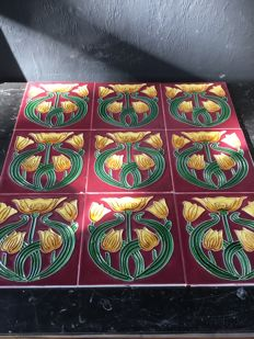 Set with 20 Art Nouveau style tiles