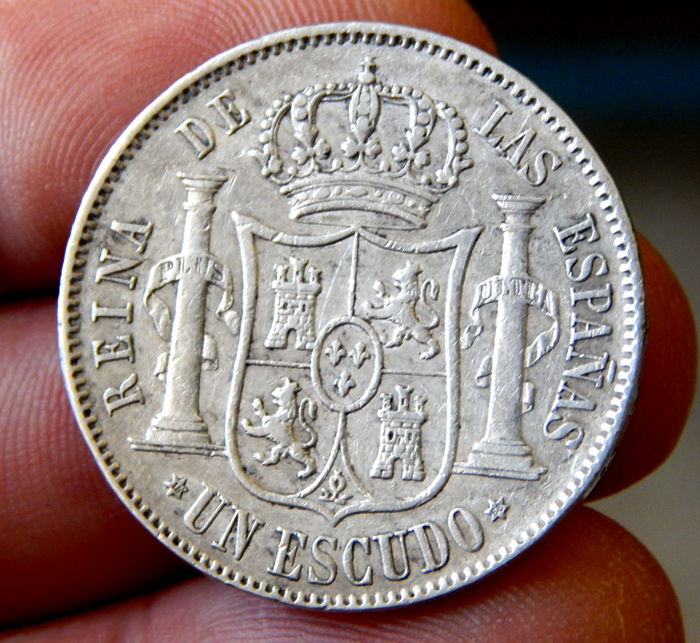 Spain - 1 Escudo 1868 Madrid - Isabel II - Silver