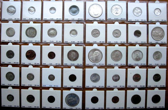 """Canada - Cent up to and including Dollar 1859/1985 """"type collection"""" (40 different coins) - 24x silver"""