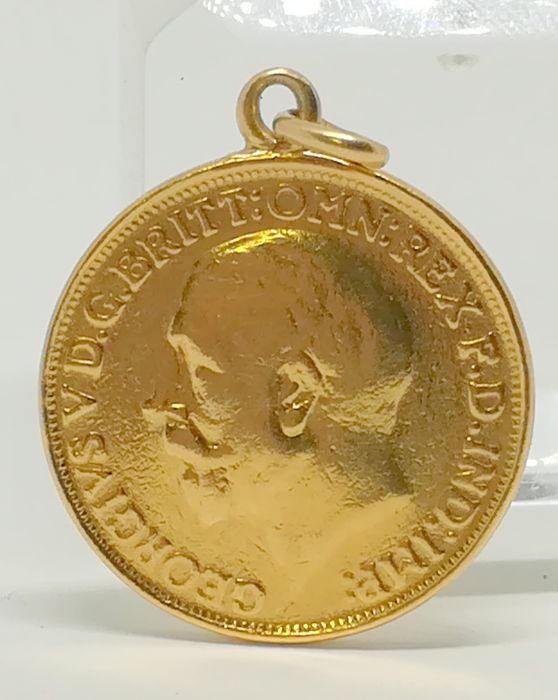 22 kt gold coin pendant - Pound or sovereign from 1927 - England