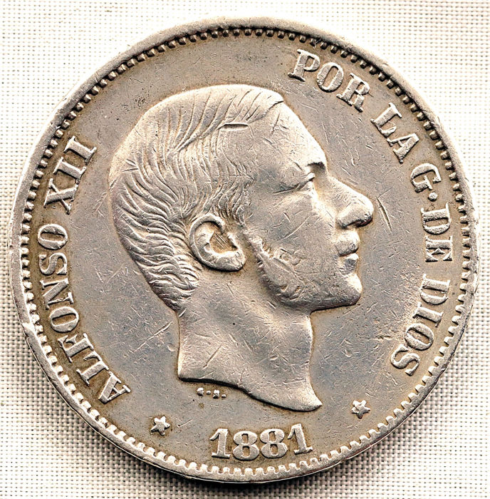 Spain - 50 Centavo 1881 - Alfonso XII - Silver