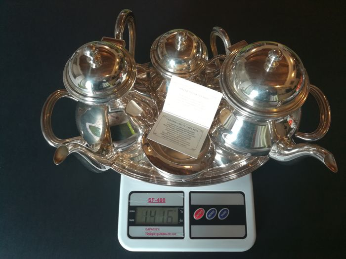 """""""Sheffield Collection"""" Set made up of teapot, coffee pot, milk jug, sugar bowl and tray"""