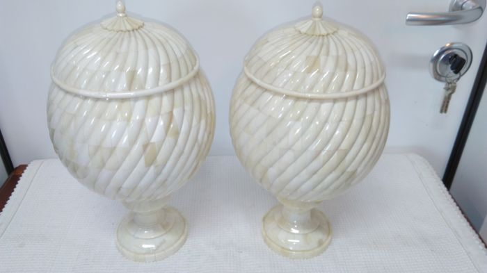 Candy boxes - pair of vases in ivory and teak wood inside, 1960s