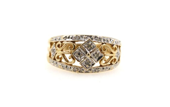 14 kt yellow gold ladies' ring with 0.10 ct diamonds - ring size: 52 EU - size adjustment free of charge