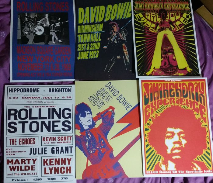 Six very cool, iconic Rock concert posters( reproduction ). Size A3( 42 cm x 30 cm approx' ).