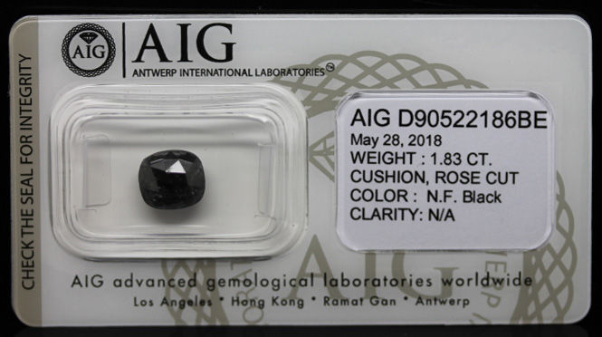 1.83 ct. Certified Natural Fancy Black Diamond - NO RESERVE