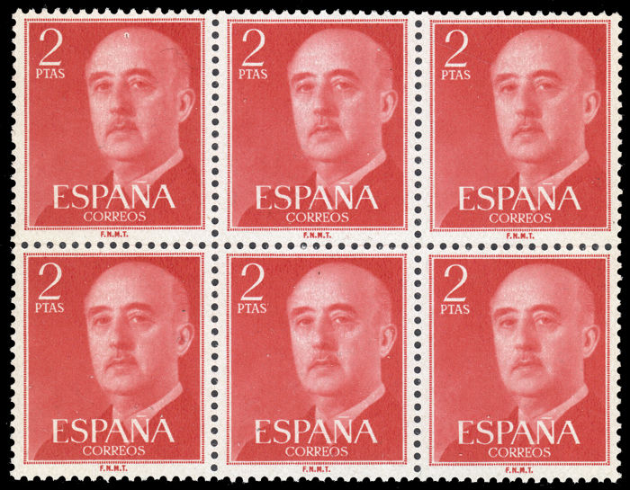 Spain 1955 - Franco. 2 pts Rojo. Bloque 6 sellos. Valor clave. - Edifil 1157