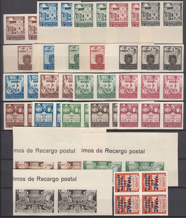 Spain 1942/1945 - Barcelona, seals without Pinking, - Edifil 33s / 37s, 42s  / 46s, 55s / 59s, 65s / 68s, 69s / 71s, 5s - Catawiki