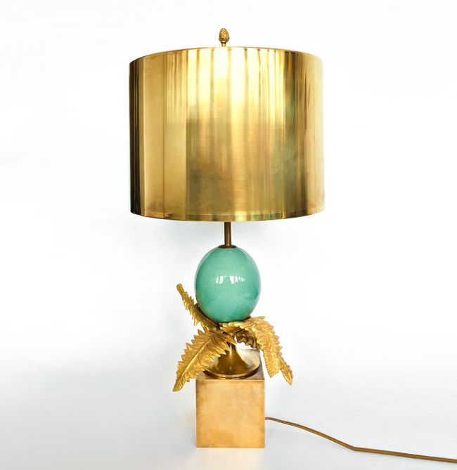 Maison Charles - Bronze fern egg lamp, signed