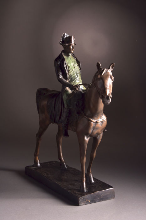 After Louis Marie Morise (1818-1883)-large (65 cm) very beautiful bronze statue of Napoleon Bonaparte on horseback - France, 20th century