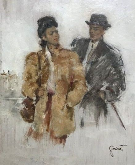 Pierre Grisot  (1911 - 1995) - Couple en promenade