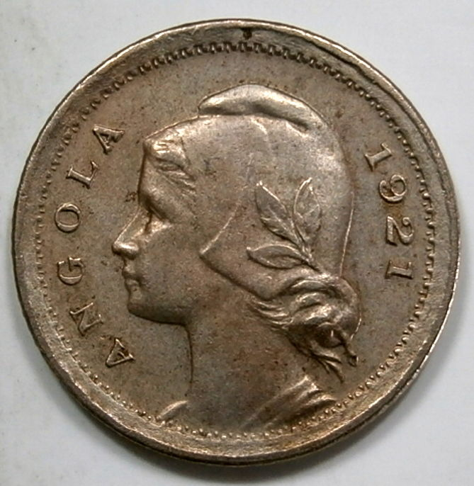 Angola, Portugal - República - 10 Centavos  1921 - Escasso  - Croup / Nickel