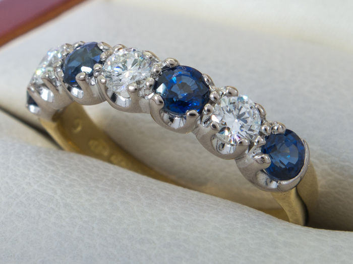 0.50 Ct. - Fine large diamond / sapphire row ring -  **No Reserve price**