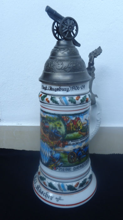 Reservist Tankard, 1900 - 4th Bavarian, Field Art - Augsburg Regiment, Marked on the Base