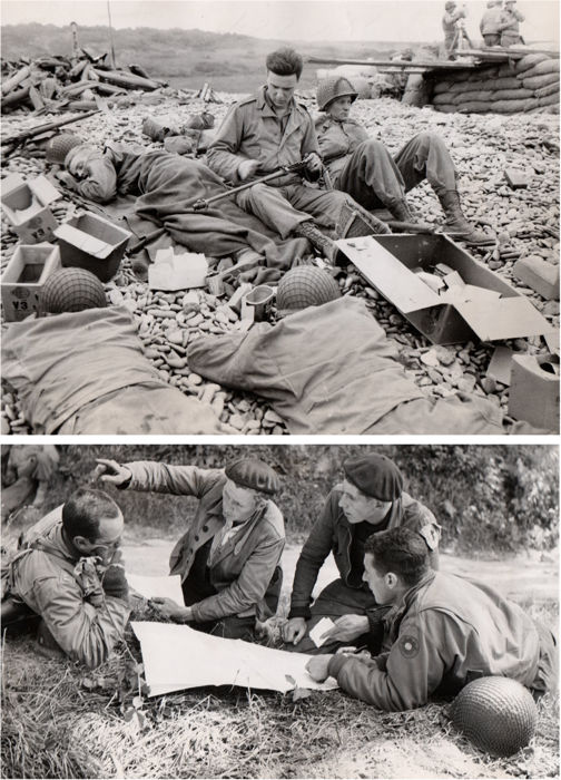 Unknown/Acme  - 'Relaxing on the beachead' & 'The Underground has its day', Normandy invasion, France, 1944