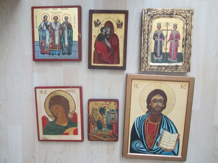 6 hand-painted icons