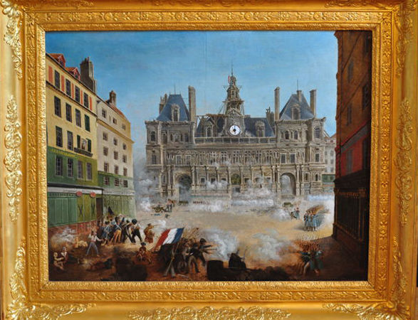 Achille - Revolutionary scene on a French square - 'Tableau Horloge' - Oil on canvas - Not signed - 19th century