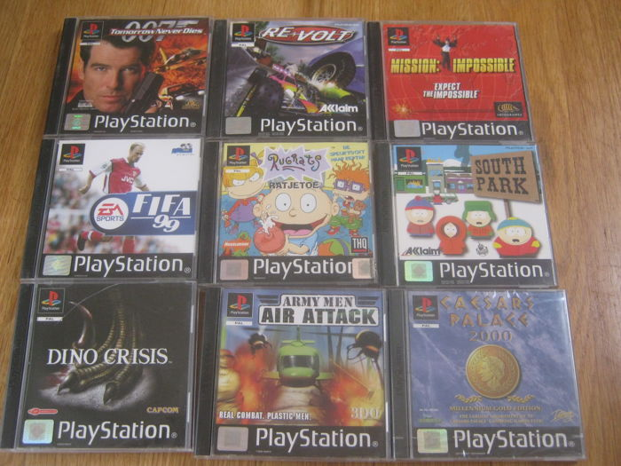 Nice lot of 9 original Sony Playstation 1 games: Dino Crisis, Fifa 99, South Parks, Mission Impossible etc.