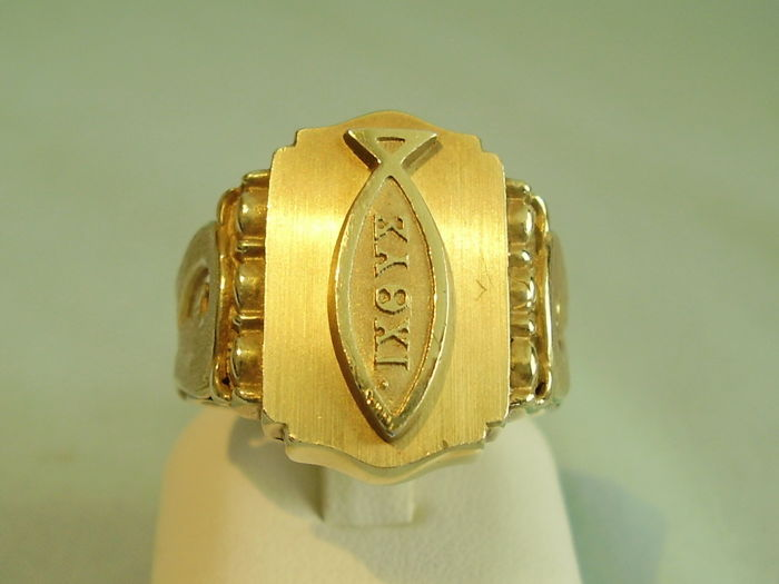 Solid Mens Ring With Christian Fish Symbol Catawiki