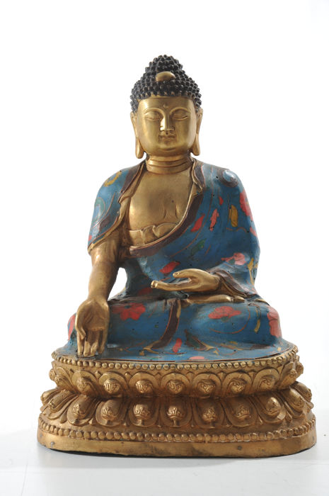 Bronze Buddha with Cloisonné - China - late 20th century