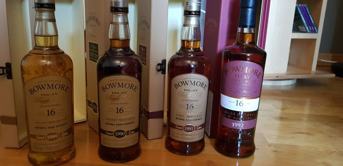 4 bottles - Bowmore 1989 - 1990 - 1991 - 1992