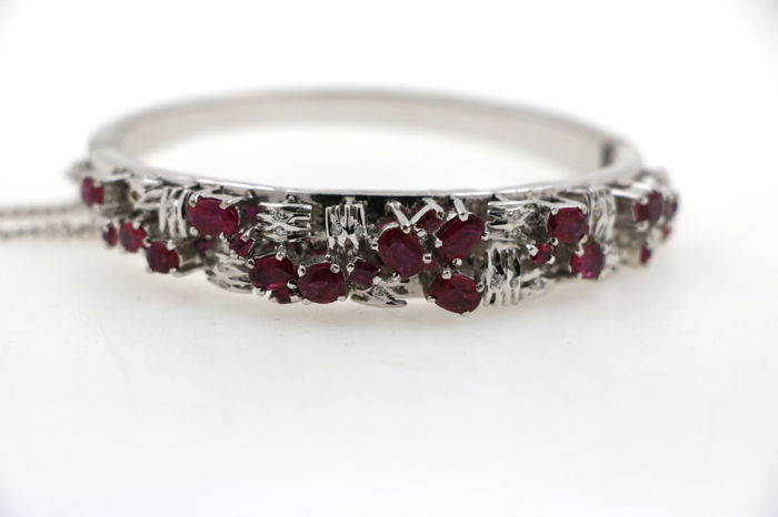 18 kt. White gold - Bracelet - 4.00 ct Ruby - Diamond