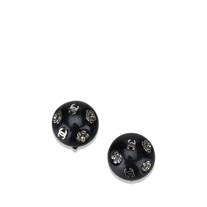 Chanel - CC Round Clip On Earrings