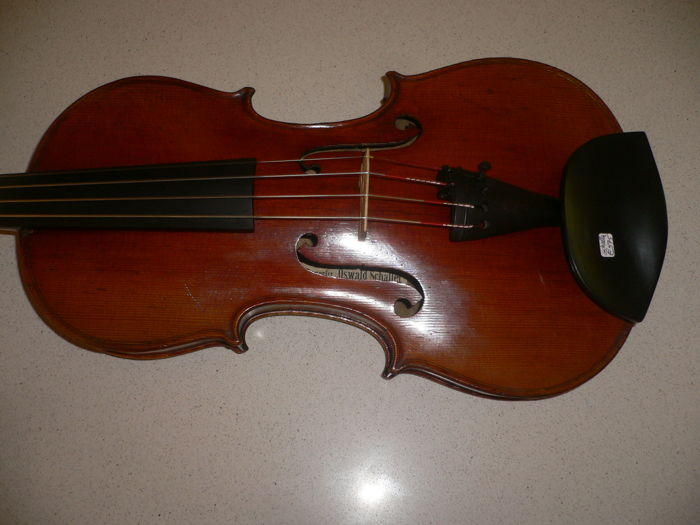 Beautiful German 4/4 violin with label Oswald SCHALLER, Frankfurt a/d Oder, 1909, full warm sound