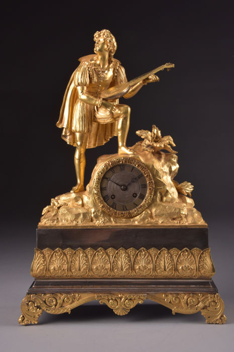 A beautiful large French empire mantel clock - musician with lute - Movement mark VILLEMSENS A PARIS - France - ca. 1880