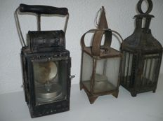Collection of old lanterns, including a Helmholz by Pauli from 1952