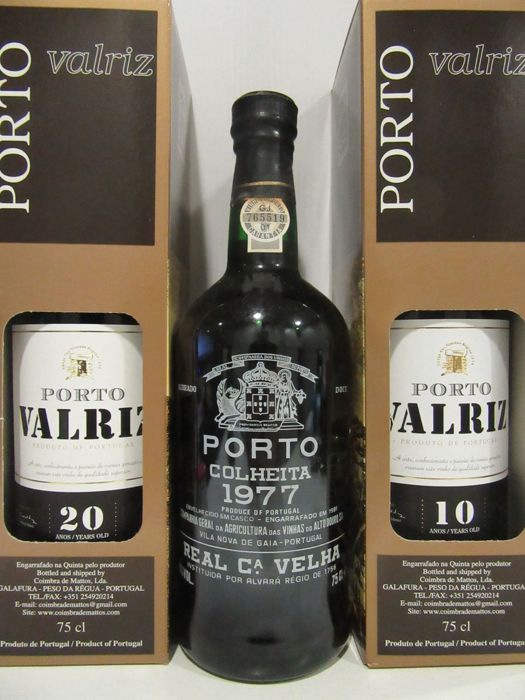1977 Colheita Port - Real Companhia Velha - bottled in 1991 & Port Valriz: 20 Years Old Tawny and 10 Years Old Tawny Port - 3 bottles in total