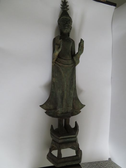 Laotian Culture ,  Brons standing bronze Buddha statue - 51 X 16 cm - (1)
