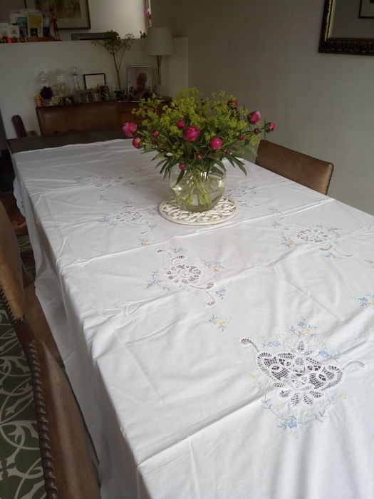 Beautifully embroidered and openwork tablecloth