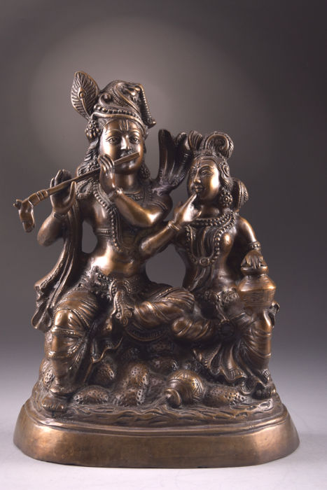 Bronze statue Radha & Krishna - India - late 20th century