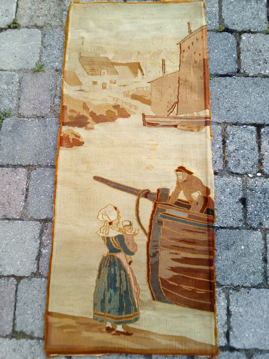 Old Aubusson tapestry depicting the sweetest scene of a fisherman greeting his family -France, 97x41cm, 1900.
