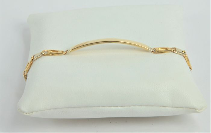 Bracelet with a customisable yellow gold tab, made in Italy by the brand 'RAIKA' in 18 kt (750/1000) yellow and white gold - Weight: 13.9 grams - Length: 20 cm