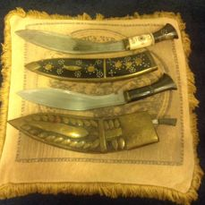 Two Thais local hunting knives in original covers - Thailand - second half 20th century