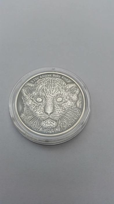 Burundi - 5000 Francs 2014 The African Baby Five - Leopard High Relief -  Antique finish - 1 Oz - Zilver